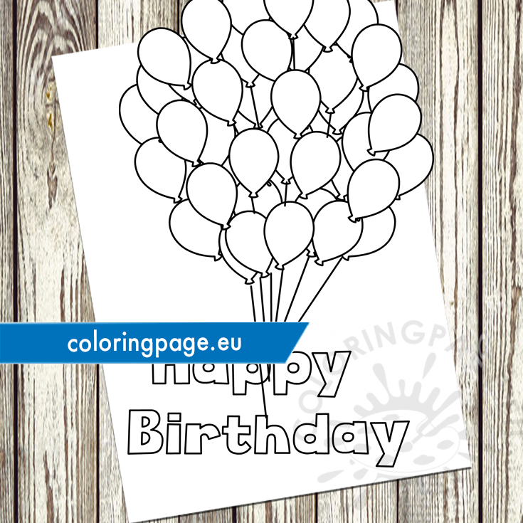 Happy birthday balloons template - Coloring Page