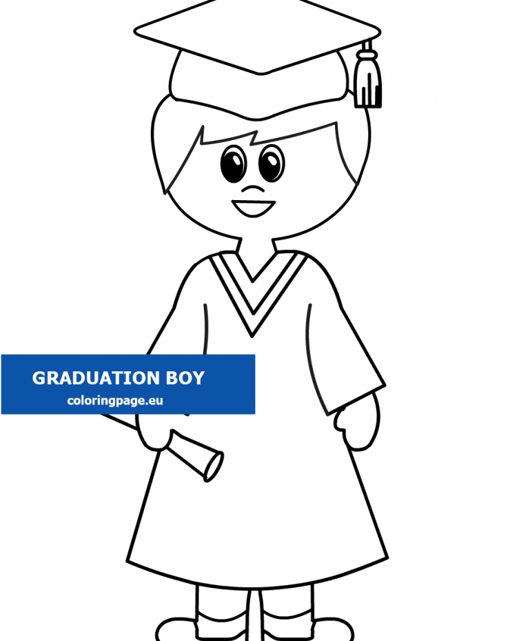 Graduation Boy with Certificate coloring - Coloring Page