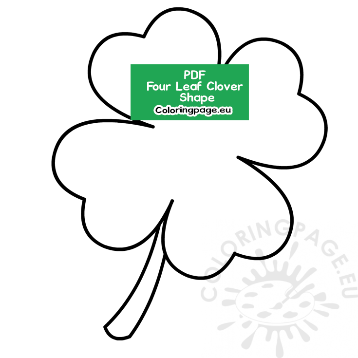 It is a picture of Four Leaf Clover Printable Template with regard to full page