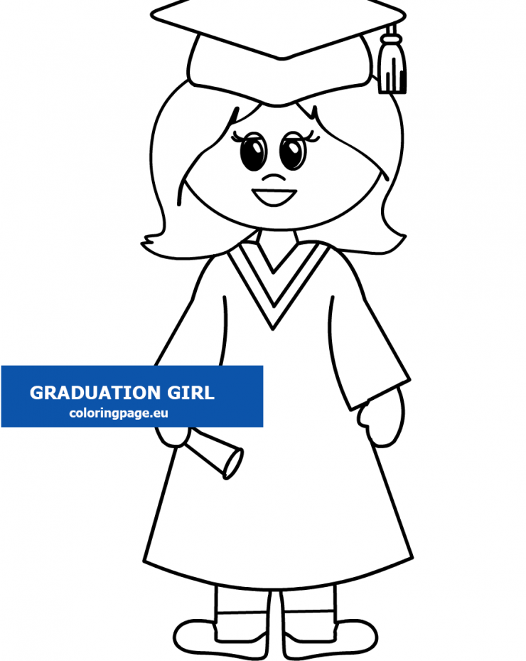Happy graduation girl printable - Coloring Page