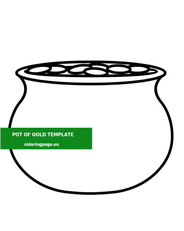 Free Printable Pot Of Gold template - Coloring Page