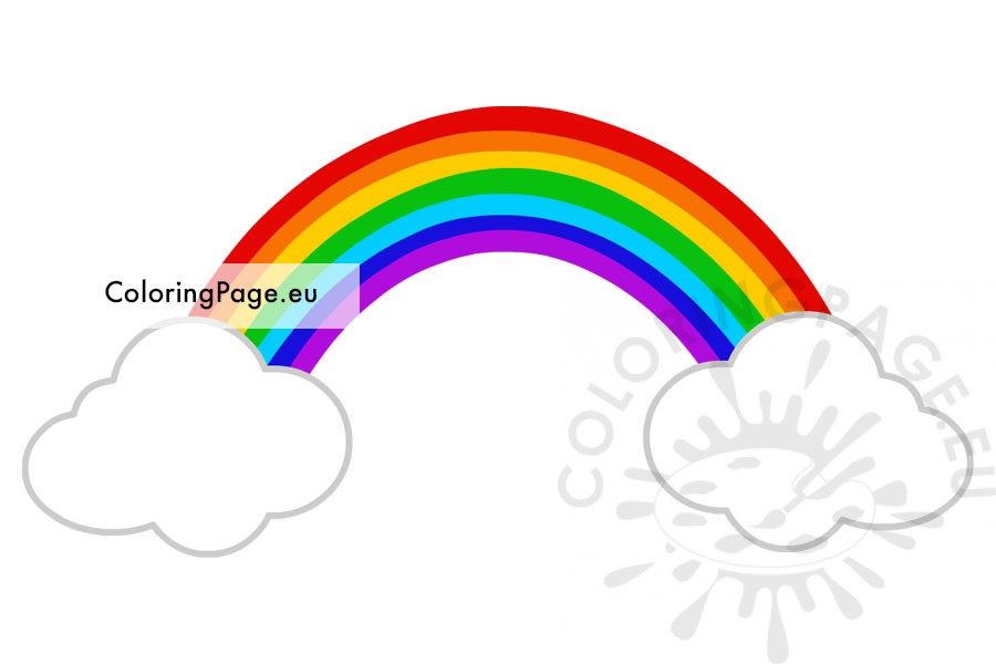 Rainbow on two clouds printable - Coloring Page