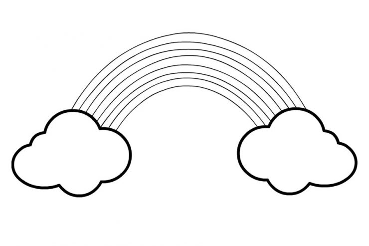 Rainbow with clouds template - Coloring Page