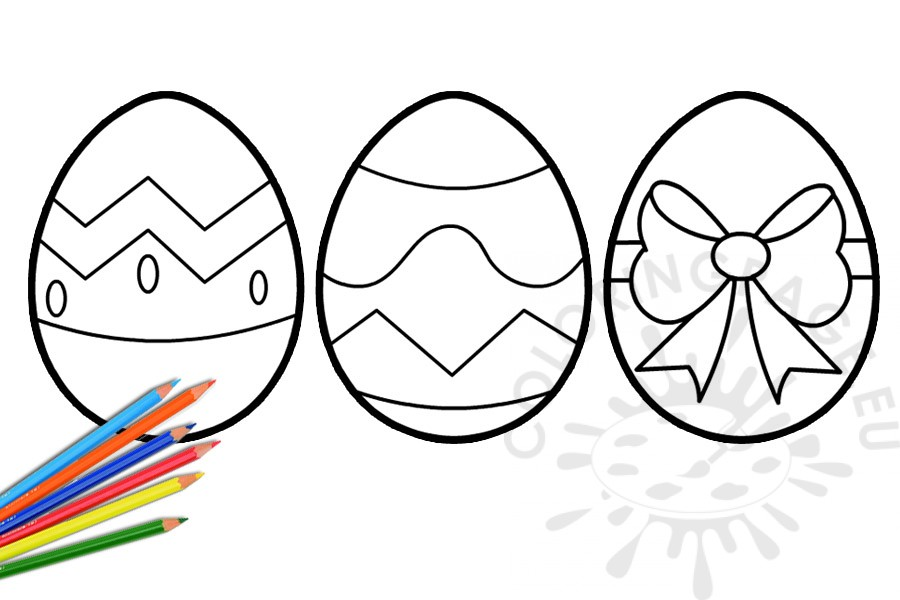 Three decorated Easter eggs template - Coloring Page