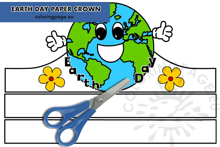 Earth Day Paper Crown Printable Coloring Page Cartoon graphics of a crown decorated with pearls and a cross on top. coloring page
