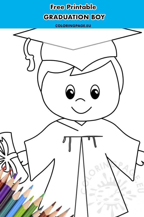 Happy graduation boy printable - Coloring Page