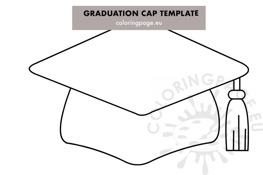 Graduation cap printable pattern - Coloring Page