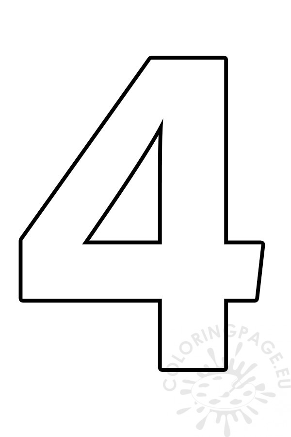 Free Printable Number 4 Template  U2013 Coloring Page
