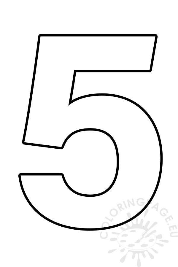 Number 5 Template  U2013 Coloring Page