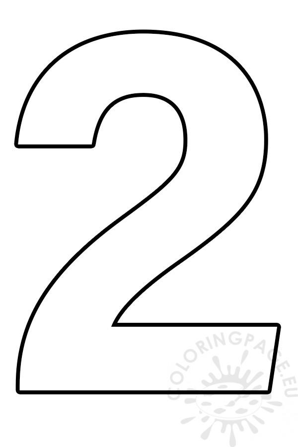 Free Printable Number 2 Template  U2013 Coloring Page