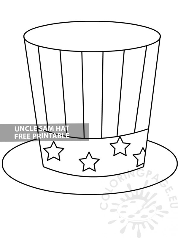 Uncle Sam Hat template - Coloring Page