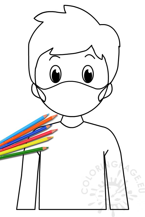 Boy Wearing Face Mask - Coloring Page