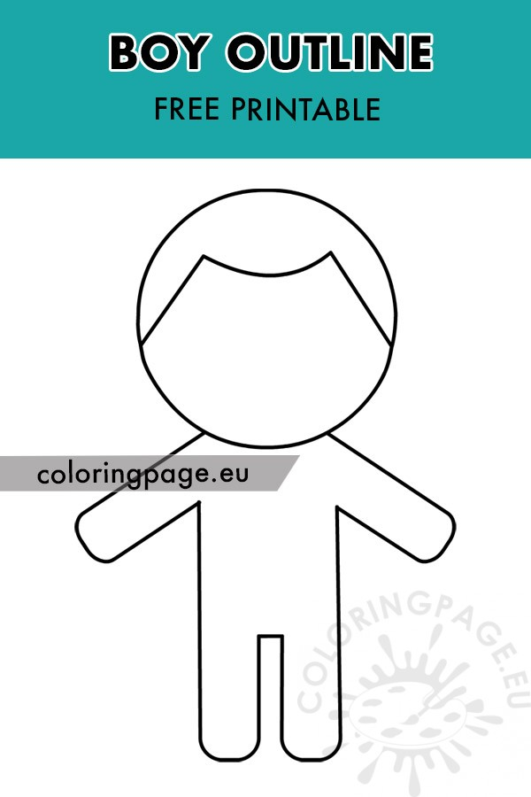 Boy outline template - Coloring Page