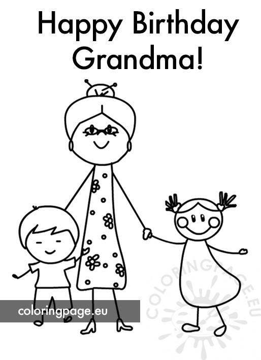 Free Happy Birthday Grandma - Coloring Page