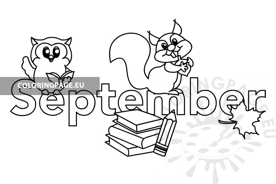 Text Month September - Coloring Page