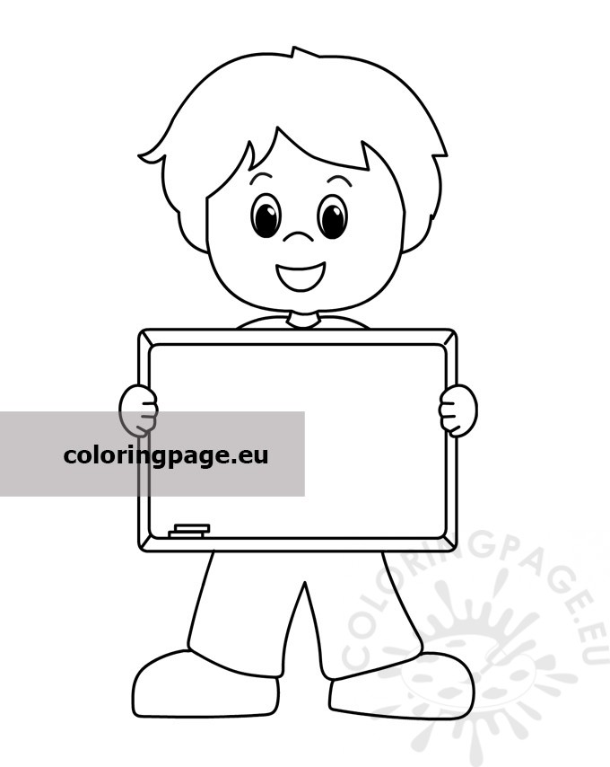 Happy Boy Holding Blackboard - Coloring Page