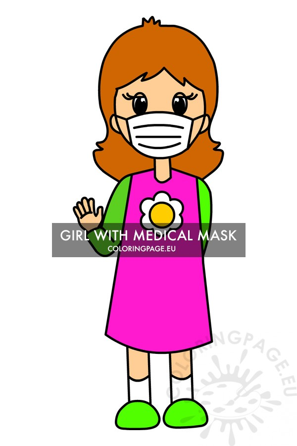 Free Printable Girl Wearing Mask Covid Coloring Page