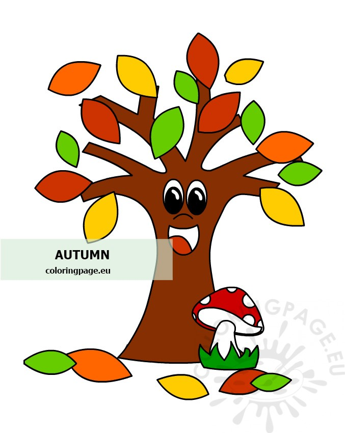 Autumn Tree With Mushroom Coloring Page Cartoon tree free brushes licensed under creative commons, open source, and more! coloring page