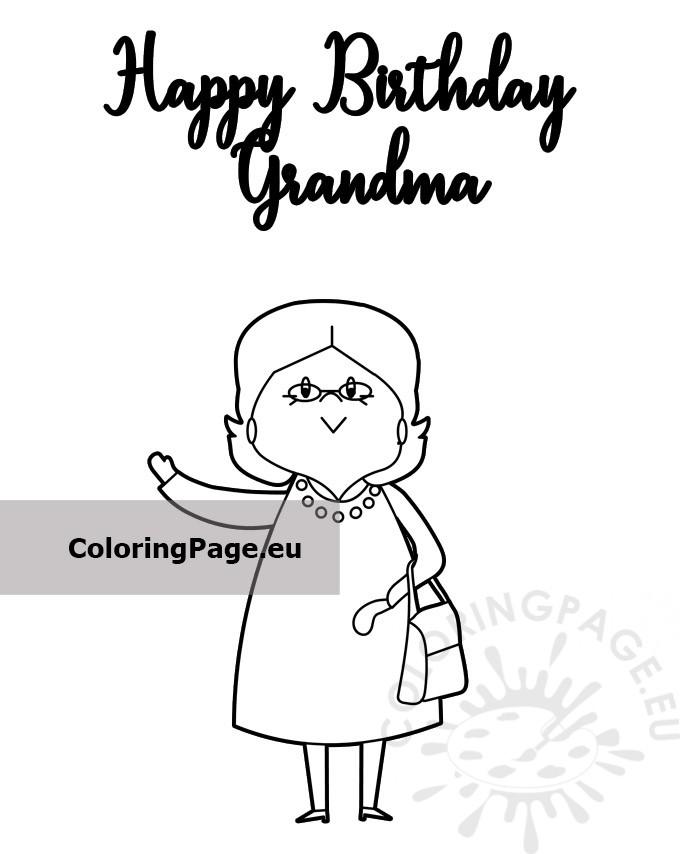 Happy Birthday Grandma card - Coloring Page