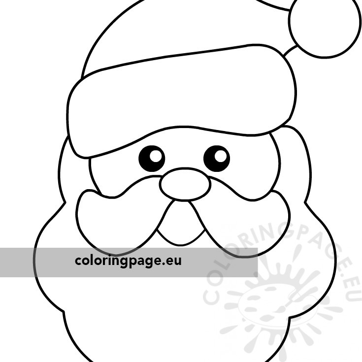Christmas coloring page Happy Santa Claus face - Coloring Page